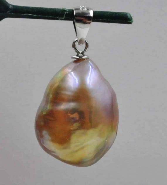 Beautiful Natural  golden rainbow 18mm tear drop Kasumi Pearl pendant sterling silver