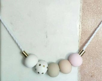 Gold Polka Pastel Polymer Clay Necklace