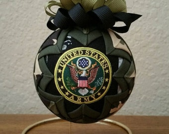 U.S. Army Ornament, Army Keepsake, Quilted Military Ornament