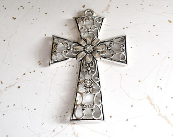 Large Hollow Antique Silver Cross with Flower & Rhinestone, Cross Jewelry, Religious Gift, Silver Cross Jewelry, Christian Jewelry, Cross