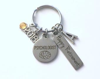 Psychologist Retirement Present, 2018 Psychology Keychain, Gift for Women or Men Retire, Key Chain Keyring him her Personalized Custom 2017