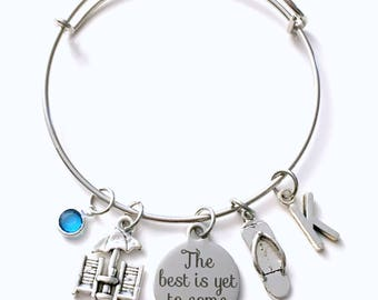 Retirement Gift for Best Friend Charm Bracelet, The best is yet to come Jewelry, Beach Chair Flip Flop Silver initial birthstone Present her