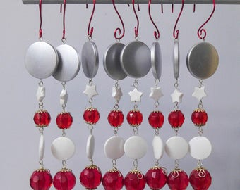 Red, Silver and White Acrylic Beaded Christmas Holiday Ornaments, Set of 8