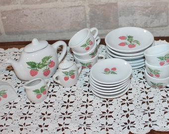 Childs Tea Set for 6, play dishes, kids or childrens pretend play vintage porcelain tea set pieces, Mommy and Me Tea or Dollies Tea party