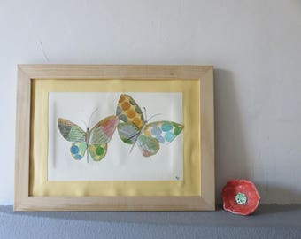 Collage of original watercolors, theme two butterflies, color nature, abstract