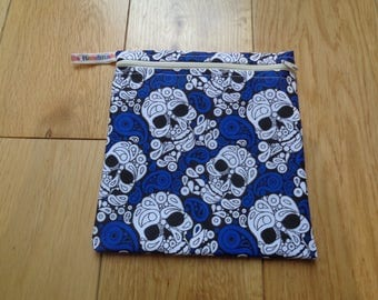Snack Bag - Bikini Bag - Lunch Bag Tool Bag - Zero Waste Medium Poppins Waterproof Lined Zip Pouch - Sandwich bag - Eco - Skull Blue White