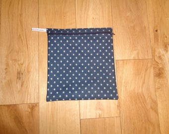 Make Up Bag - Toiletries Bag -  Bikini Bag -  Sandwich bag  -  Eco - Craft Bag - Large Poppins Waterproof Lined Zip Pouch - Navy cream Stars