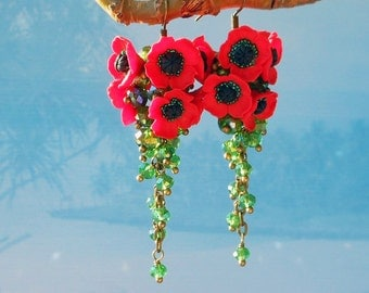 Earrings red poppies polymer clay Floral cluster earrings Long red earrings Jewelry poppies Statement earrings Poppy flower polymer clay