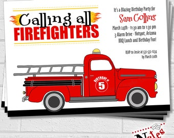 Fire Truck Party Invitation, Firefighter Invitation, Fireman Birthday Party, Fire Truck Party, Firefighter Birthday Party | PRINTABLE