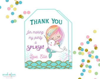 Mermaid Narwhal Favor Tags, Narwhal Birthday, Mermaid Party, Narwhal Tags, Printable, Mermaid Birthday Party Thank You Tags, Teal Purple