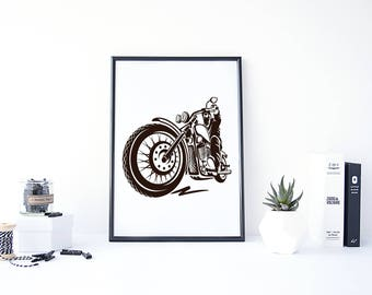 Bike Digital Art, Motorcycle Art Print, Vintage Bike Print, Bike Poster Black and White, Biker Poster, Gift for Biker