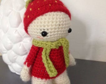 "Little Pixie Doll ""lutinou"" Strawberry wood"