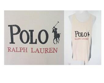 Vintage POLO Ralph Lauren light pink heather gray grey tank top big logo spell out XL