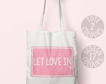 Let Love In cotton tote bag, eco friendly bag, retro gift for teen, gift for mom, christmas present, feel better, nevertheless she persisted