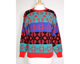 Vintage 80s NATIVE Red Pattern Knit Sweater SMALL