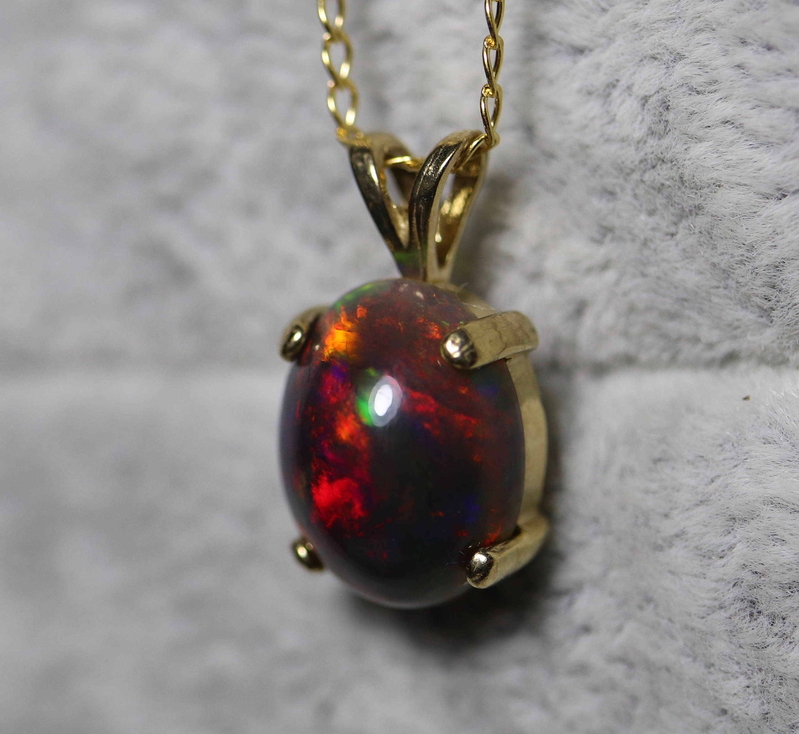 Black opal necklace black opal pendant black fire opal necklace fire opal necklace solid black opal necklace 1 aloadofball Gallery