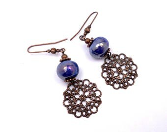 Blue ceramic earrings electric brass copper boho hippie