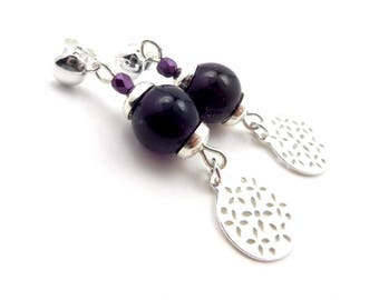 Stud Earrings, 925 sterling silver, Amethyst, gemstone and glass Bonheme plum