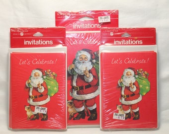 Vintage holiday invitation etsy vintage christmas party invitations santa american greetings 3 packages m4hsunfo