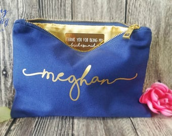 Thank you for being my Bridesmaid, NAVY BLUE Makeup Bag,  Bridesmaid Gift, Thank you Bridesmaid, Secret messag, Wedding thank you gift