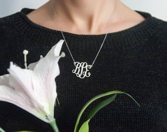Monogram Necklace For Women Initial Necklace Personalized Gift For Her Custom Name Jewelry Anniversary Gift 925 silver 22k gold plated