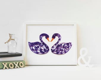 Original Paper Art, Quilled Art, Swan Art, Swan Wall Art, gift for wife, anniversary gift her, art for living room, wedding gift couple