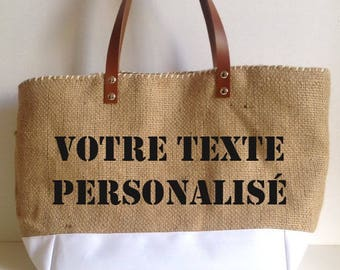 "Customable Tote bag ""Barcelona"" in Burlap (Upcycling of a coffee bag) and white  waterproof fabric."