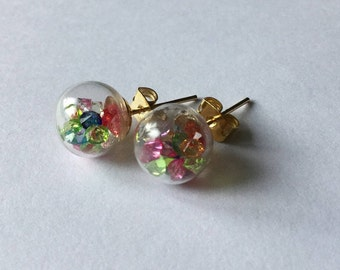 Glass globe with multicolored crystals earrings