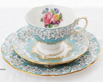 Royal Albert Enchantment  SMALL  trioset, TEACUP, saucer, plate, fine bone china england aqua-blue and floral pattern, goldgilt rim