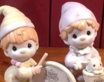 Precious Moments Porcelain 2 figurines with Club Symbol of Membership - 1990, B-0005 & 1996, B0011