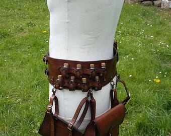 kit leather alchemist's belt potion bandolier thief's belt bag and holster, larp cosplay belt dungeon kit theater belt