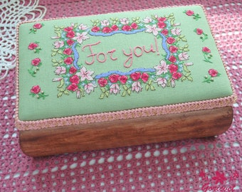 Wood jewelry box Embroidered floral decor keepsake box For you Personalized gift for women Unique birthday gift for wife floral gift for mom