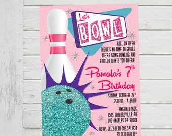 Bowling invitations Etsy