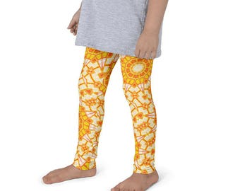 Orange and Yellow Leggings for Girls, Kids Leggings, Children's Yoga Pants, Summer Pattern Activewear