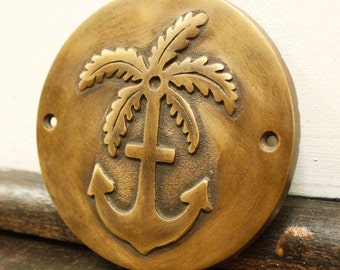 Palm Tree & Anchor Brass Plaque, Embossing, Nauticle