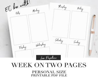 Weekly planner inserts, Planner printable, Personal planner inserts, Weekly planner, Week on two pages, Weekly planner pages, Filofax refill