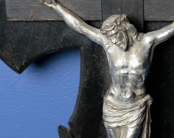 Antique French Crucifix ebonized wood and metal. Catholic cross