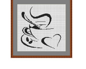 Kitchen Decor. The Coffee Cup Counted Cross Stitch Pattern. Pattern. PDF Instant Download. Wall Decor. Art. Cross Stitch Pattern. Begginer.