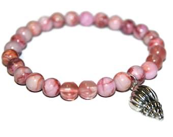 Seashell Bracelet, Pink Stone Bracelet, Pink Crystal Bracelet, Womens Bracelet for Girlfriend, Healing Bracelet, Mala Bracelet, Pink Jewelry
