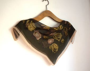 Romantic small square silk veil scarf, beige and olive roses on dark brown background kerchief, vintage fashion accessories