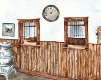 Print - Train station in Alaska