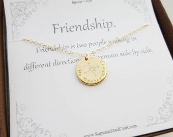 Friendship Necklace | Compass necklace | Coordinates compass | Best Friends |  Stamp on both sides | Graduation necklace