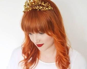 Wedding Crown, Antique Tiara and Corsage, Myrtle Crown Gold, original German Bridal Headpiece, Boutonniere Groom Pin Corsage