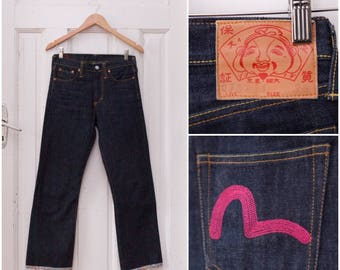 Vintage EVISU Jeans Indigo Straight Leg Jeans W29 L28 Boyfriend Jeans Mens XS 90s Evisu Jeans Womens Small Embroidered Loose Fit Jeans S