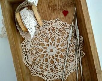 Small Crochet Doily, Beige Round Doily, Table Decor, Handmade Doily