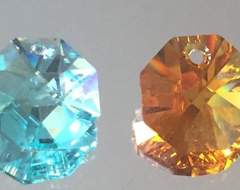 Octagon Crystal Beads - Available in 2 colors... 14mm Turquoise Blue & Light Gold - Packages of 6 Beads
