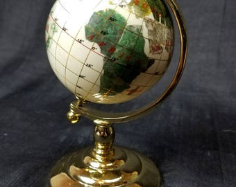 Globe Map with Semi Precious Gem Stone Inlay, Gold Tone or Brass Stand, Small Vintage Globe Map