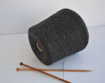 Wool yarn Anthracite on cone 630gr / 22,22 Oz // NM 15/1 , Black Spool yarn, Machine yarn, Cone Yarn, Thread yarn, knitwear Yarn