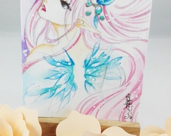 Original watercolor ACEO cocoa card Angel with wings fantasy signed