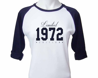 45th Birthday Gift for Women Limited Edition Birthday Celebration 45 Year Old Raglan Baseball Tee Shirt Birthday 1972